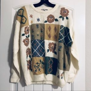 Alfred Dunner White Multi Knitted Sweater 2X